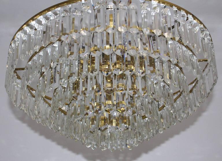 Austrian Mid Century Modern Crystal Glass Chandelier By
