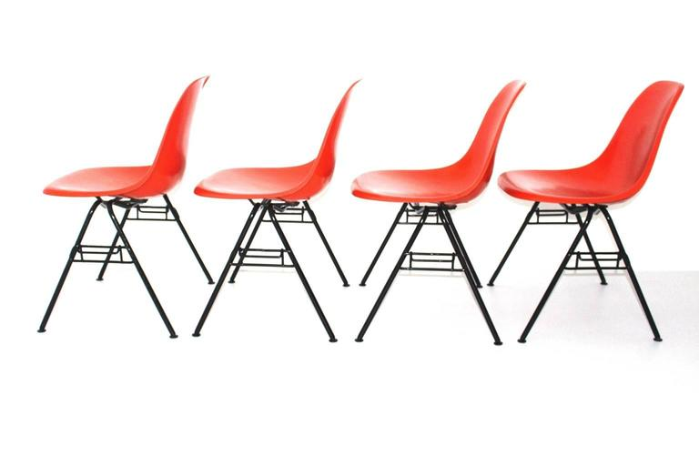 Mid-Century Modern Mid Century Modern Red Vintage Dining Chairs Charles Ray Eames Chairs 1950s  For Sale
