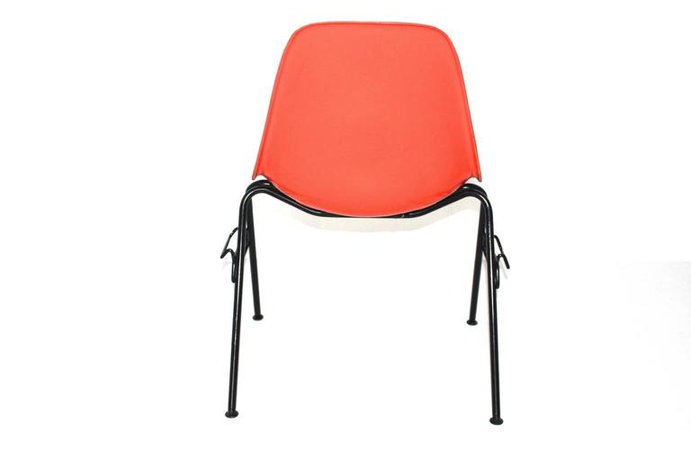 Mid-20th Century Mid Century Modern Red Vintage Dining Chairs Charles Ray Eames Chairs 1950s  For Sale