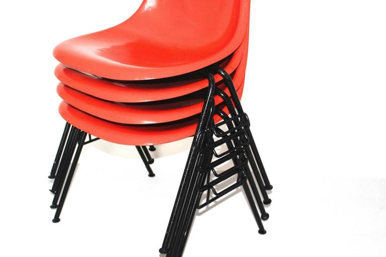 Steel Mid Century Modern Red Vintage Dining Chairs Charles Ray Eames Chairs 1950s  For Sale