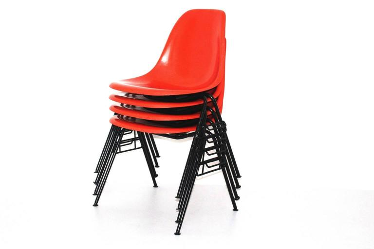 Mid Century Modern Red Vintage Dining Chairs Charles Ray Eames Chairs 1950s  For Sale 1