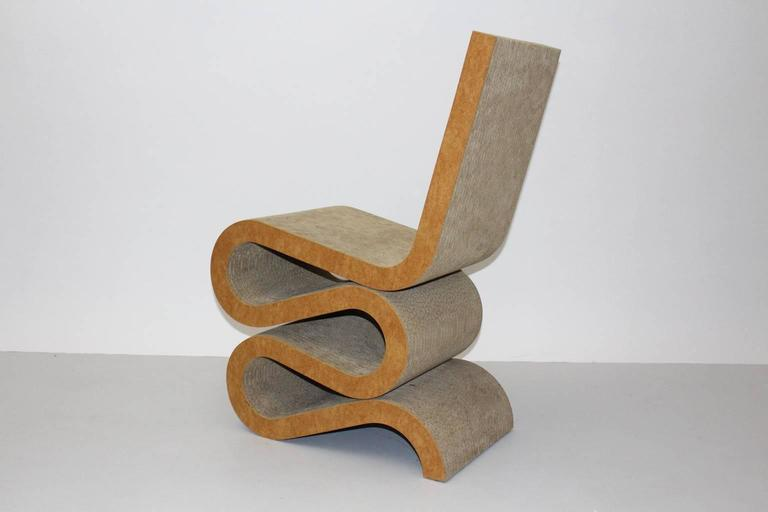 Late 20th Century Mid Century Modern Vintage Cardboard Wiggle Side Chair by Frank O. Gehry, 1972 For Sale