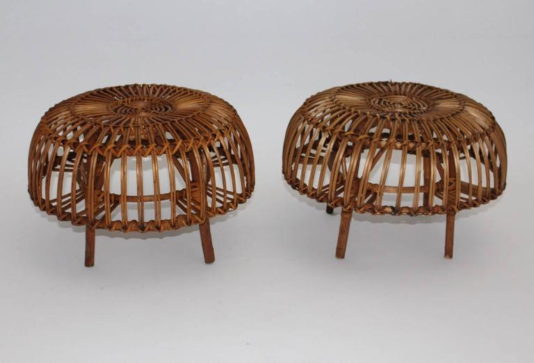Pair of Wicker Poufs in the style of Franco Albini, Italy, circa 1958 2