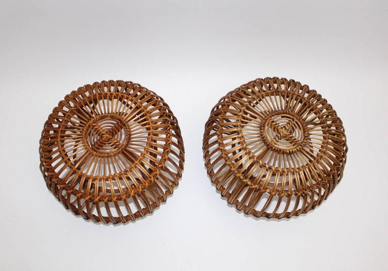Pair of Wicker Poufs in the style of Franco Albini, Italy, circa 1958 3