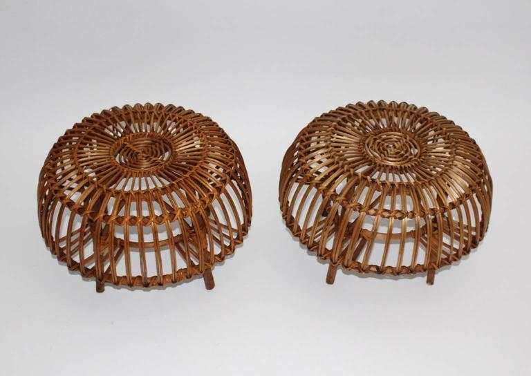 Pair of Wicker Poufs in the style of Franco Albini, Italy, circa 1958 4