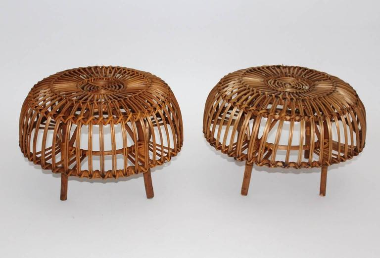 Pair of Wicker Poufs in the style of Franco Albini, Italy, circa 1958 5