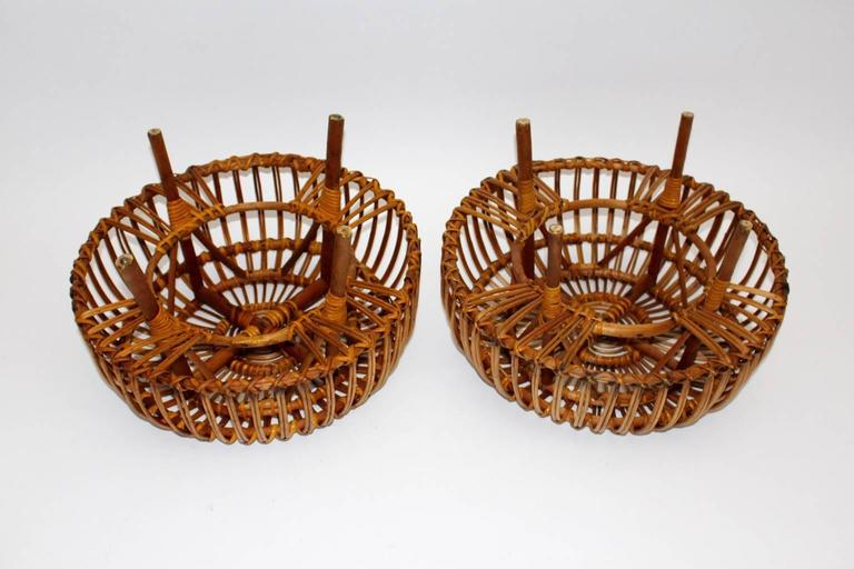 Pair of Wicker Poufs in the style of Franco Albini, Italy, circa 1958 6