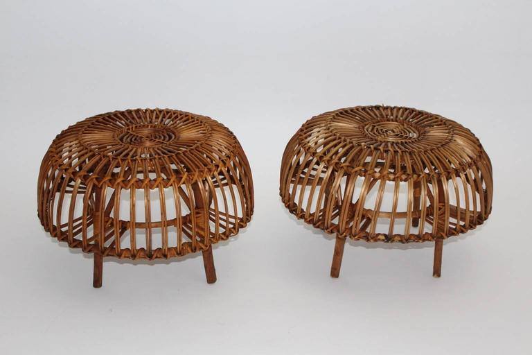 Pair of Wicker Poufs in the style of Franco Albini, Italy, circa 1958 7