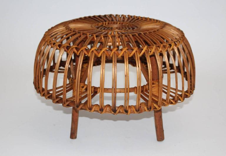 Pair of Wicker Poufs in the style of Franco Albini, Italy, circa 1958 8