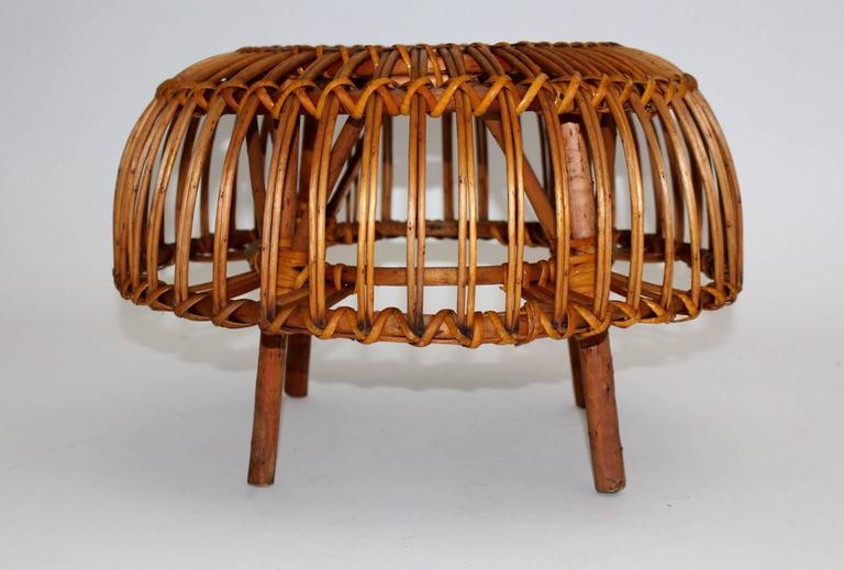 Pair of Wicker Poufs in the style of Franco Albini, Italy, circa 1958 9