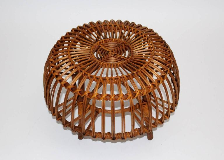 Pair of Wicker Poufs in the style of Franco Albini, Italy, circa 1958 10