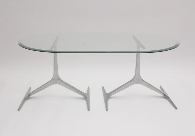 Mid-Century Modern Mid Century Modern Glass Metal Coffee Table by Knut Hesterberg, 1960s, Germany For Sale