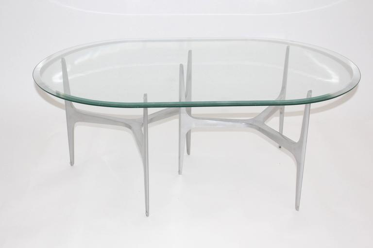 Mid Century Modern Glass Metal Coffee Table by Knut Hesterberg, 1960s, Germany In Good Condition For Sale In Vienna, AT