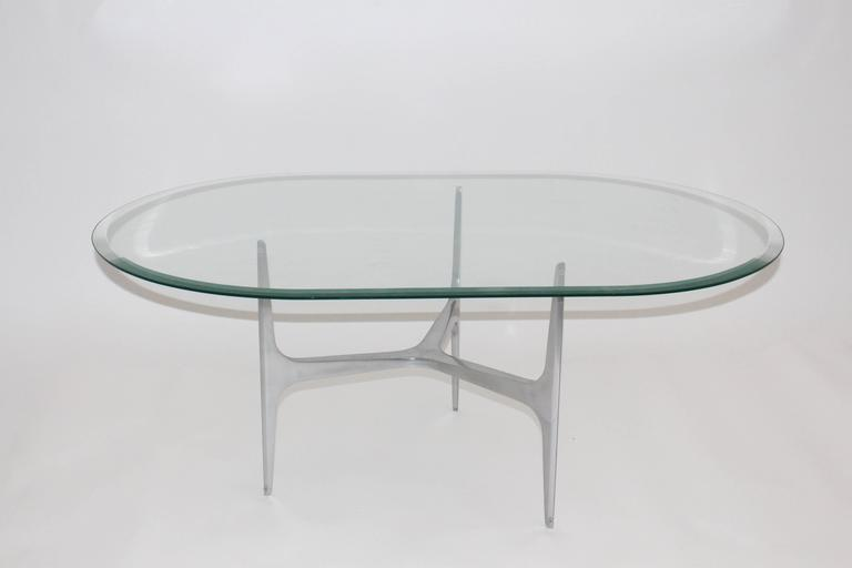 Mid-20th Century Mid Century Modern Glass Metal Coffee Table by Knut Hesterberg, 1960s, Germany For Sale
