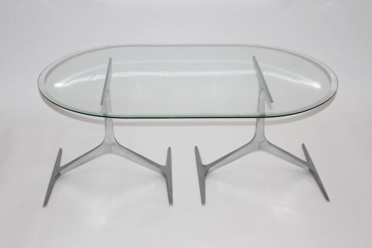 Mid Century Modern Glass Metal Coffee Table by Knut Hesterberg, 1960s, Germany For Sale 1