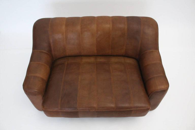 Mid-Century Modern Mid Century Modern Vintage De Sede Cognac Leather Loveseat c 1970, Switzerland For Sale