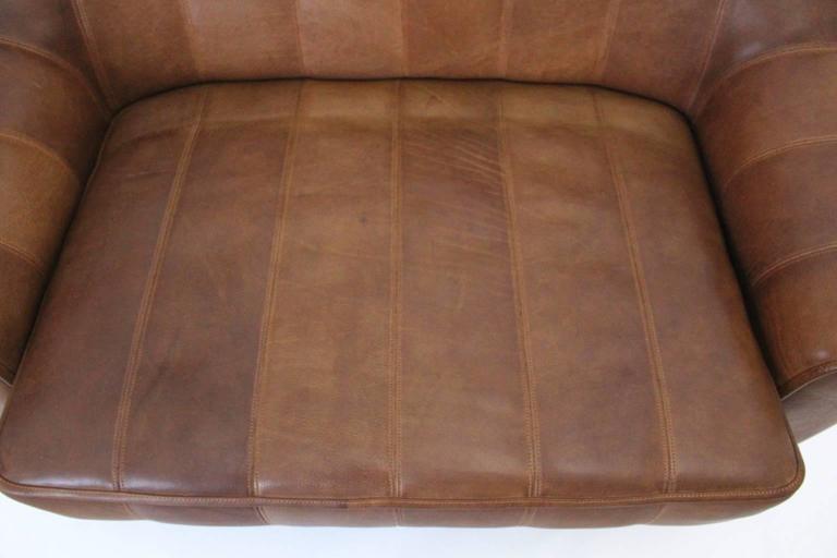 Late 20th Century Mid Century Modern Vintage De Sede Cognac Leather Loveseat c 1970, Switzerland For Sale