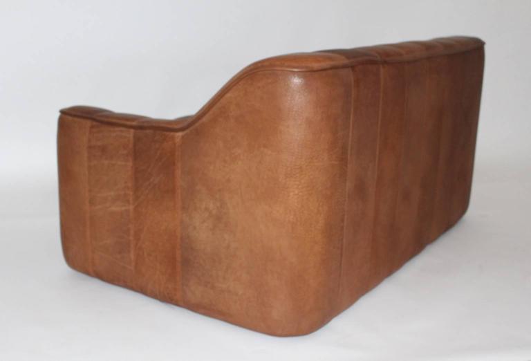 Metal Mid Century Modern Vintage De Sede Cognac Leather Loveseat c 1970, Switzerland For Sale