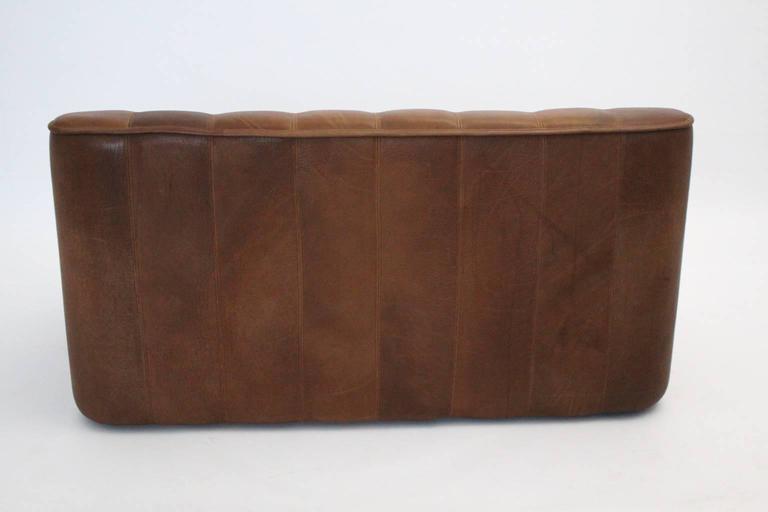 Mid Century Modern Vintage De Sede Cognac Leather Loveseat c 1970, Switzerland For Sale 1