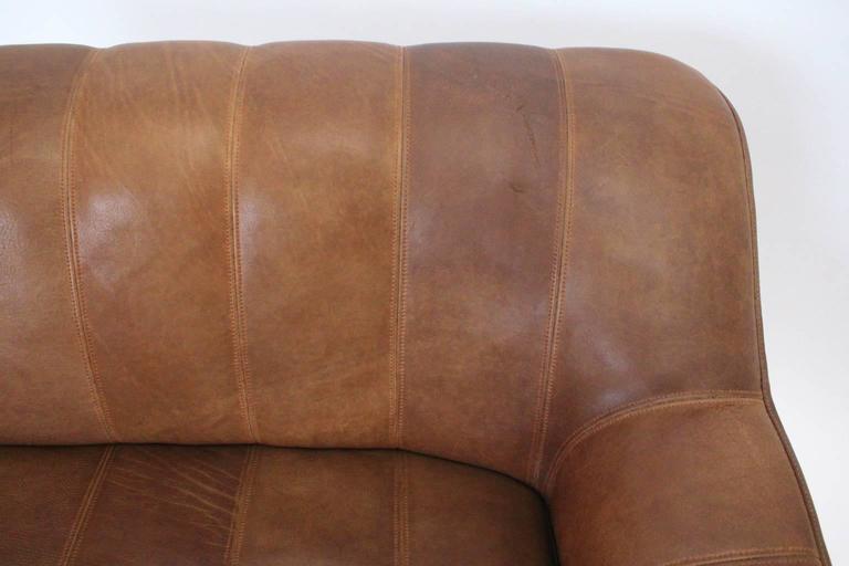 Mid Century Modern Vintage De Sede Cognac Leather Loveseat c 1970, Switzerland For Sale 2