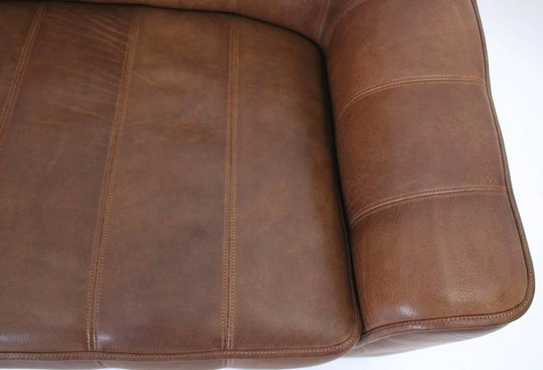 Mid Century Modern Vintage De Sede Cognac Leather Loveseat c 1970, Switzerland For Sale 3