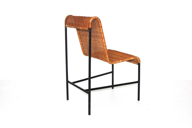 Lacquered Mid-Century Modern Chair by Harold Cohen and Davis Pratt, USA, 1953 Rattan Metal For Sale