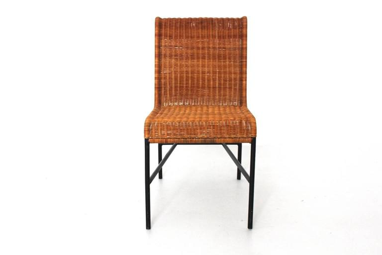 Mid-Century Modern Chair by Harold Cohen and Davis Pratt, USA, 1953 Rattan Metal In Good Condition For Sale In Vienna, AT