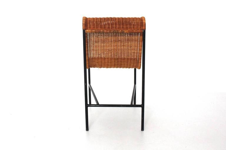 Mid-20th Century Mid-Century Modern Chair by Harold Cohen and Davis Pratt, USA, 1953 Rattan Metal For Sale