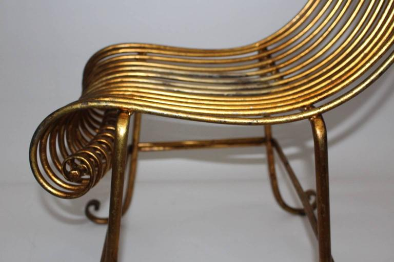 Mid Century Modern Golden Metal Vintage Side Chair Italy 1940s For Sale 3