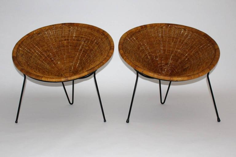 Lacquered Mid Century Modern Vintage Rattan Garden Chairs by Roberto Mango, Italy, 1950s For Sale
