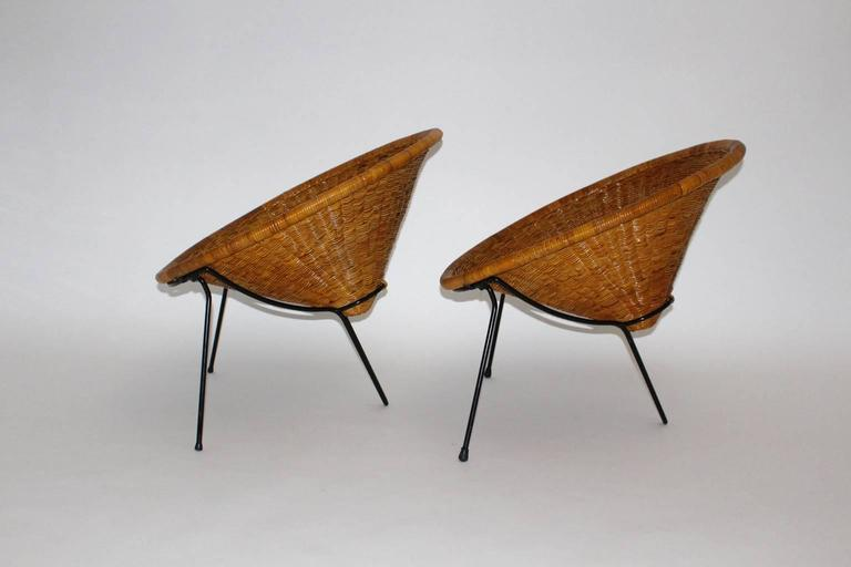 Mid Century Modern Vintage Rattan Garden Chairs by Roberto Mango, Italy, 1950s In Good Condition For Sale In Vienna, AT