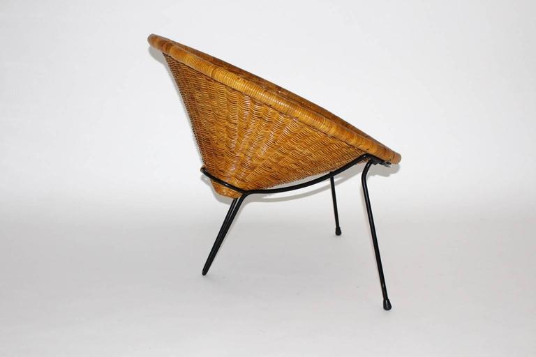 Steel Mid Century Modern Vintage Rattan Garden Chairs by Roberto Mango, Italy, 1950s For Sale