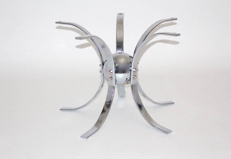 Mid-20th Century Chromed Metal Sputnik Coffee Table, 1960s For Sale