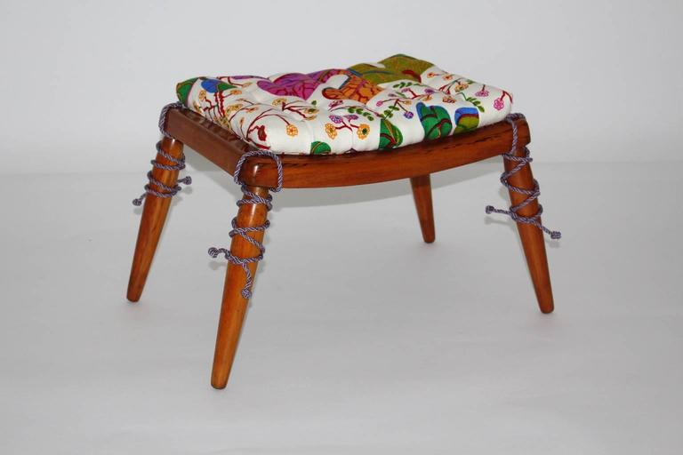 Solid Cherrywood Stool by Anna Lülja Praun with original Josef Frank Fabric 3