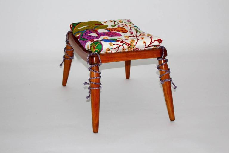 Solid Cherrywood Stool by Anna Lülja Praun with original Josef Frank Fabric In Excellent Condition For Sale In Vienna, AT