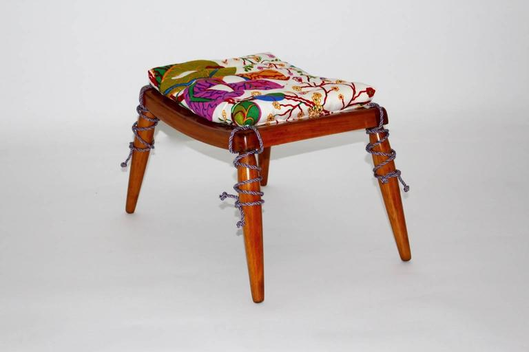Mid-20th Century Solid Cherrywood Stool by Anna Lülja Praun with original Josef Frank Fabric For Sale