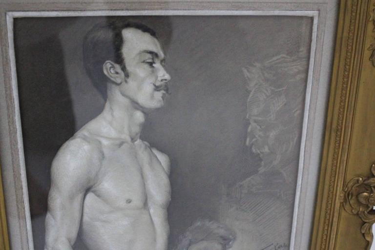 Austrian Art Deco Black and White Male Nude Painting by Emil Fiala Vienna, circa 1918 For Sale