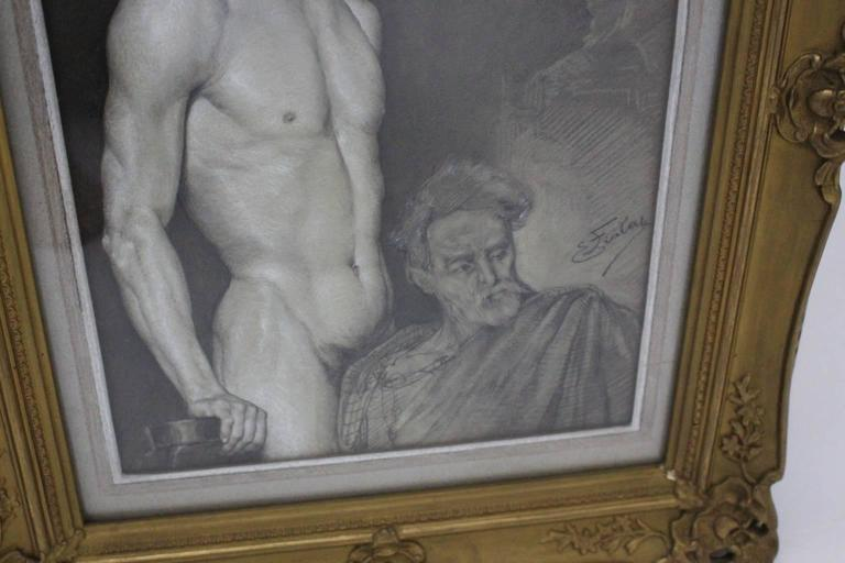 Art Deco Black and White Male Nude Painting by Emil Fiala Vienna, circa 1918 In Good Condition For Sale In Vienna, AT