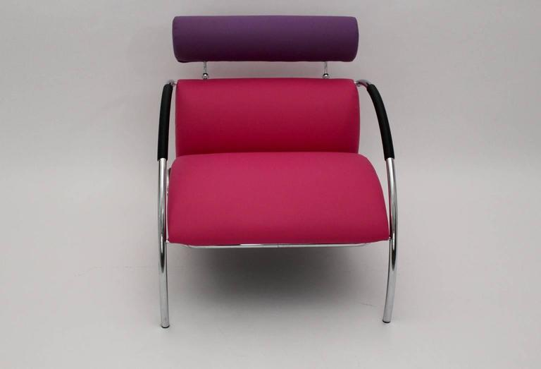 Modernist Pink Violet Vintage Armchair Zyklus Chair by Peter Maly, 1980s Germany In Good Condition For Sale In Vienna, AT