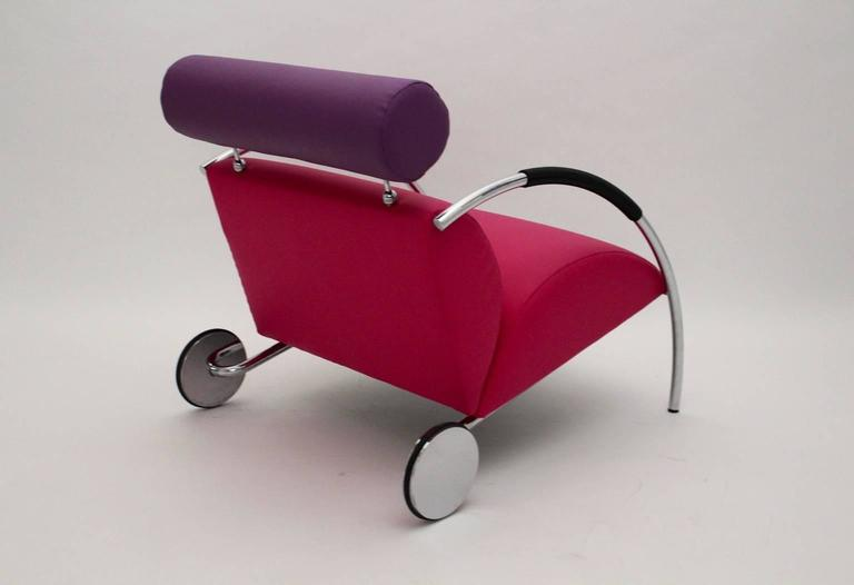 20th Century Modernist Pink Violet Vintage Armchair Zyklus Chair by Peter Maly, 1980s Germany For Sale