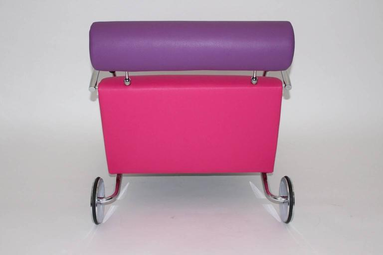 Faux Leather Modernist Pink Violet Vintage Armchair Zyklus Chair by Peter Maly, 1980s Germany For Sale