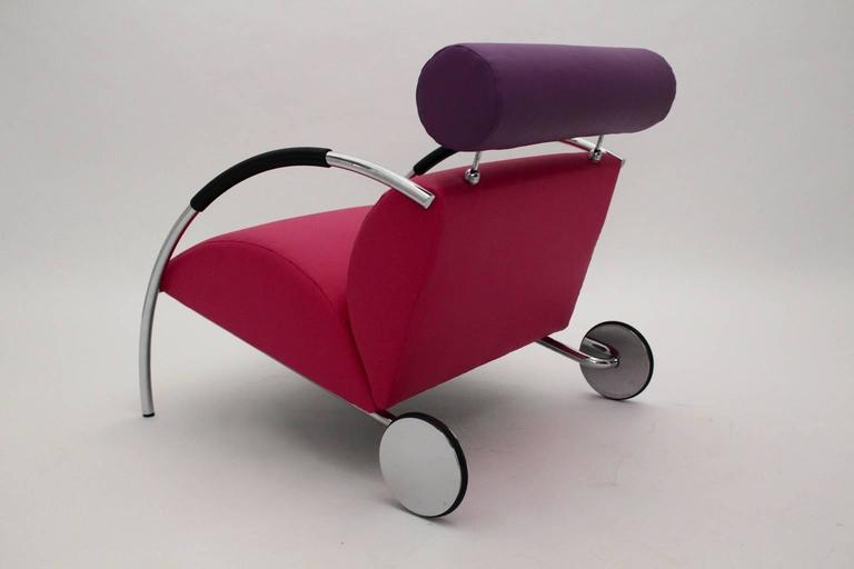 Modernist Pink Violet Vintage Armchair Zyklus Chair by Peter Maly, 1980s Germany For Sale 1
