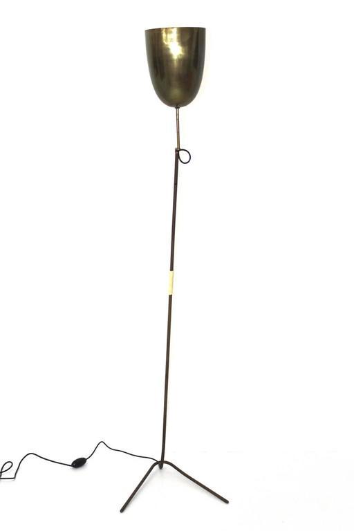 Austrian Mid-Century Modern Brass Floor Lamp, Austria, 1950s For Sale