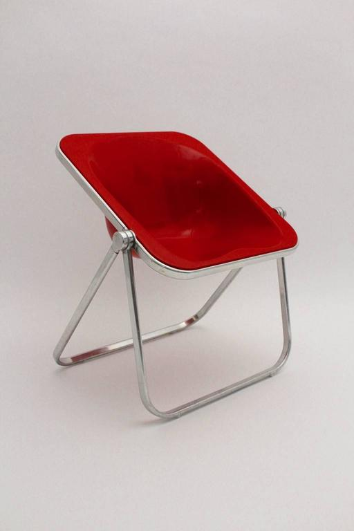 Italian Giancarlo Piretti Space Age Red Plastic Vintage Armchair Plona 1969, Italy For Sale