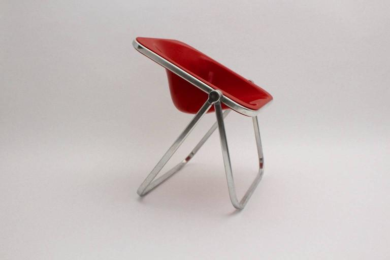 20th Century Giancarlo Piretti Space Age Red Plastic Vintage Armchair Plona 1969, Italy For Sale