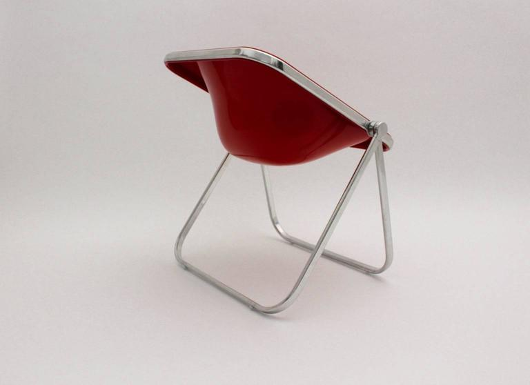 Chrome Giancarlo Piretti Space Age Red Plastic Vintage Armchair Plona 1969, Italy For Sale