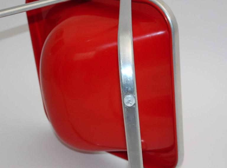 Giancarlo Piretti Space Age Red Plastic Vintage Armchair Plona 1969, Italy For Sale 2