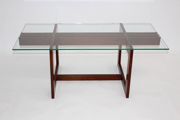 Mid-Century Modern Scandinavian Modern Vintage Teak Glass Coffee Table Denmark, 1960s For Sale