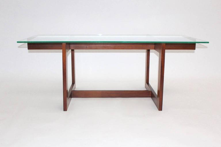 Danish Scandinavian Modern Vintage Teak Glass Coffee Table Denmark, 1960s For Sale
