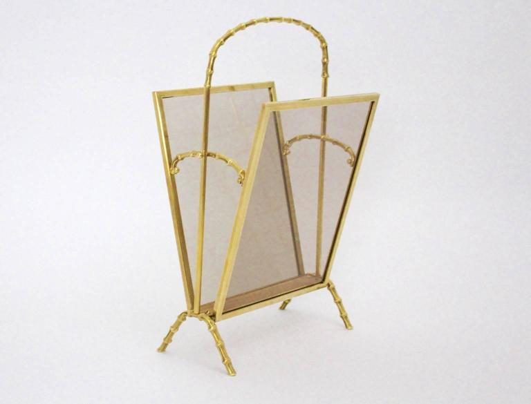 This faux bamboo magazine rack was designed by Maison Bagues, 1940s 